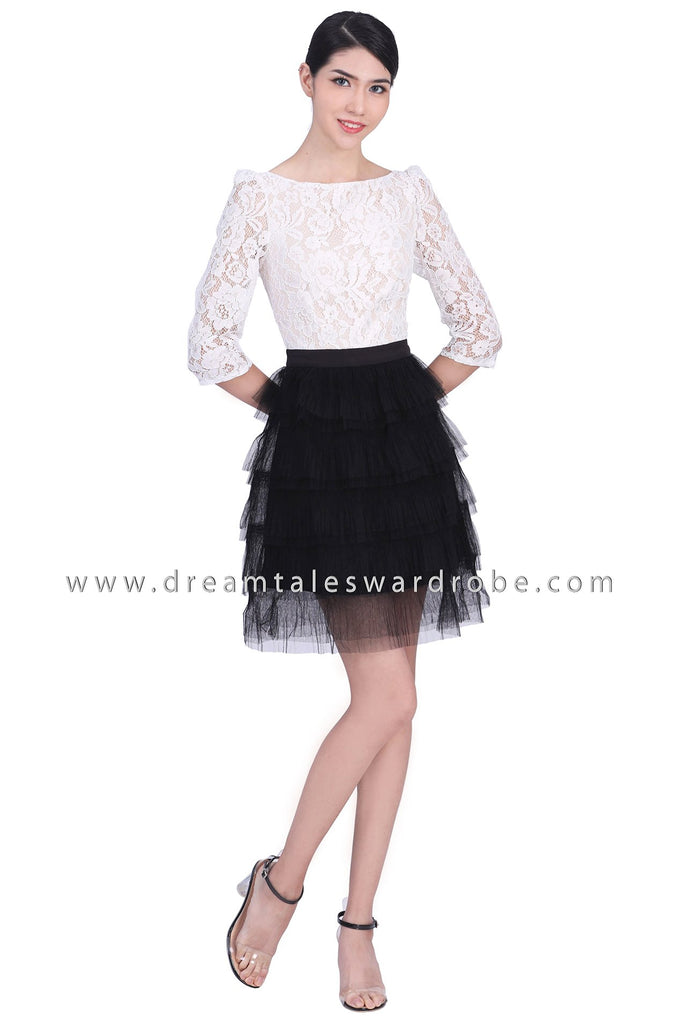 DT1785 Lace Tulle Dress -  White