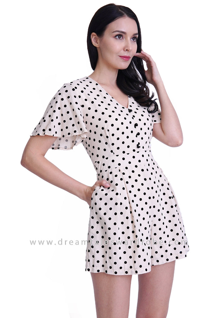 DT1787 Polka Dot V Neck Playsuit -  Cream