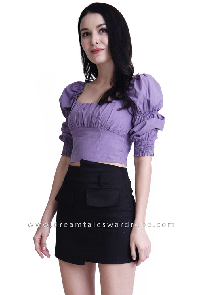 DT1790 Ruched Square Neck Top - Purple