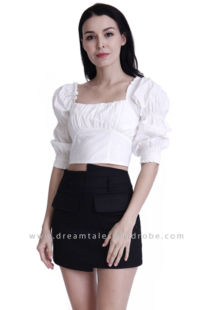 DT1790 Ruched Square Neck Top -  White