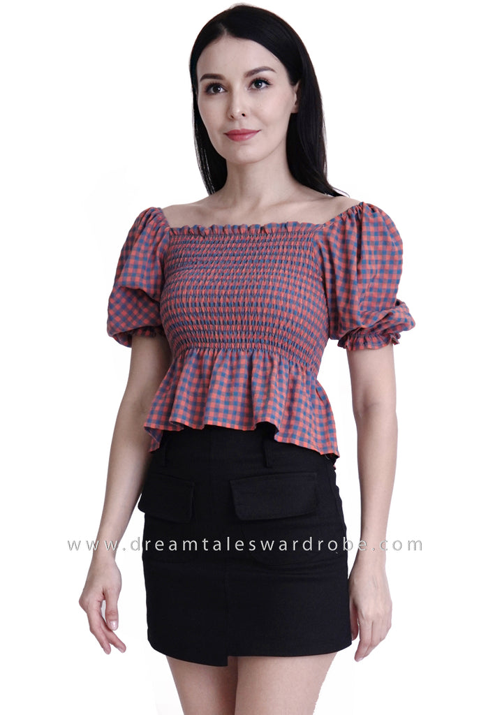 DT1792 Checkered Ruched Top -  Orange