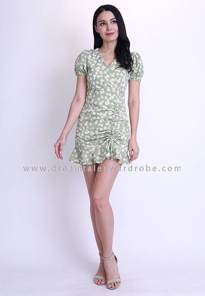 DT1795 Floral Ruffles Hem Dress -  Green