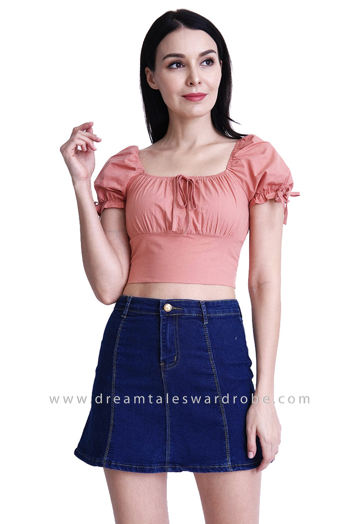 DT1796 Puffy Sleeves Crop Top - Salmon