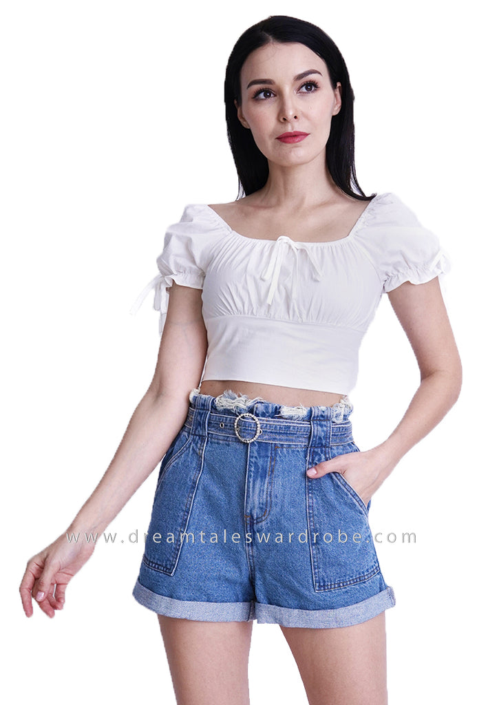 DT1796 Puffy Sleeves Crop Top -  White