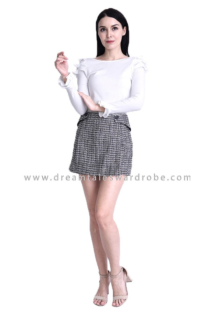 DT1804 Ruffles Long Sleeves Top -  White