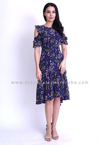 DT1808 Cold Shoulder Ruffle Floral Dress -  Floral