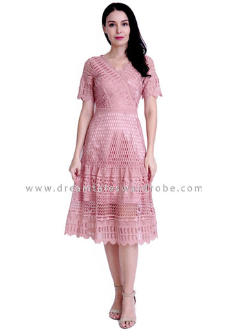 DT1809 Statement Crochet Lace Midi Dress -  Peach Pink