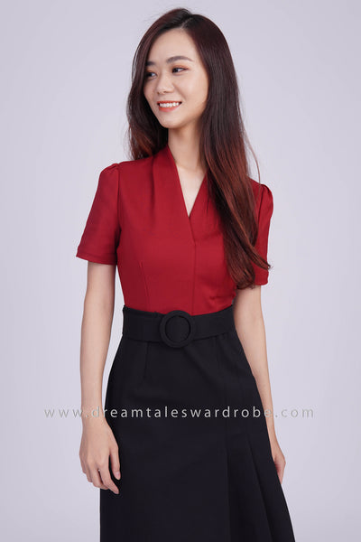 DT1810 V Neck Pleated Collar A-Line Dress - Maroon