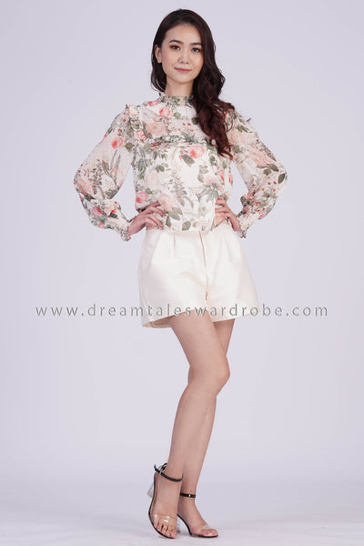 DT1837 Ruffle Neck Long Sleeve Floral Top -  Cream