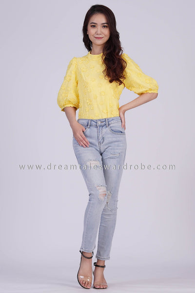 DT1839 Floral Applique Top - Yellow