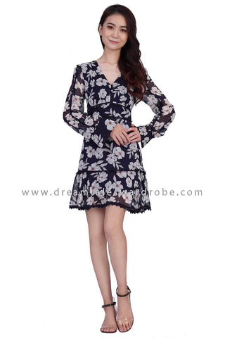 DT1840 Lace Detail Long Sleeve Floral Dress - Black