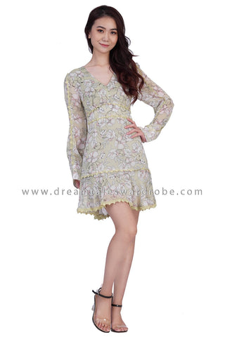 DT1840 Lace Detail Long Sleeve Floral Dress -  Green