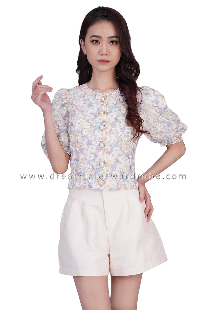 DT1841 Pearl Button Puffy Sleeve Floral Top - Yellow Floral