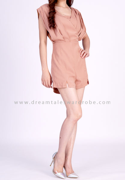 DT1852 Overlapped Playsuit -  Brown