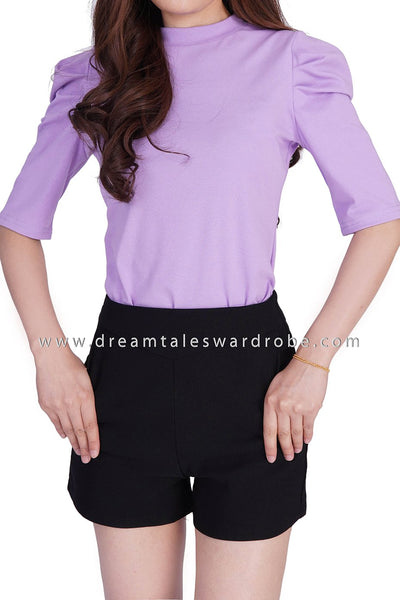 DT1861 Pleated Sleeves Details Basic Top -  Purple