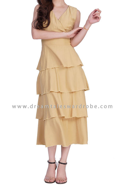 DT1862 Overlap Ruffles Details Midi Dress -  Yellow