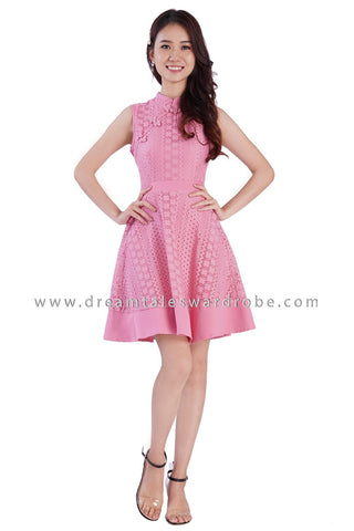 DT1875 Oriental Lace Fit & Flare Dress - Pink