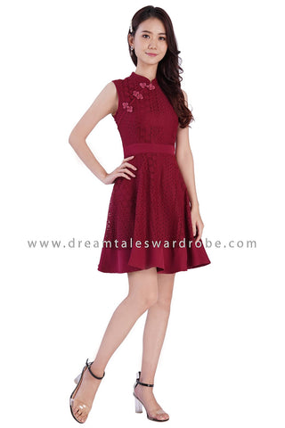 DT1875 Oriental Lace Fit & Flare Dress - Red