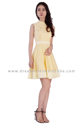 DT1875 Oriental Lace Fit & Flare Dress -  Yellow