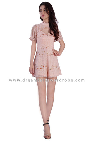 DT1879 Lace Cutout Playsuit - Pink