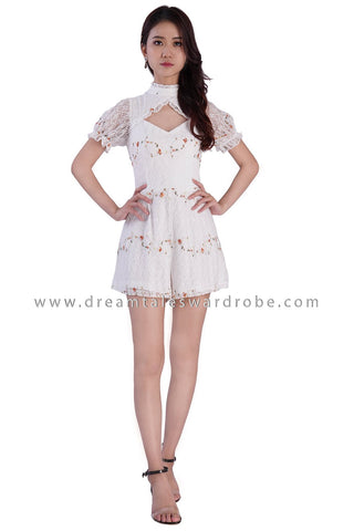 DT1879 Lace Cutout Playsuit -  White