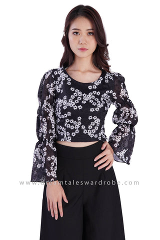 DT1882 Trumpet Sleeve Lace Top - Black