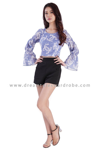 DT1882 Trumpet Sleeve Lace Top - Blue