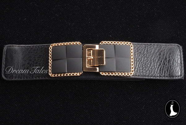 DT018A Belt with Gold Buckle- Black