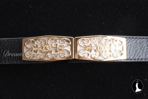 DT020A Floral Craft Buckle Belt- Black