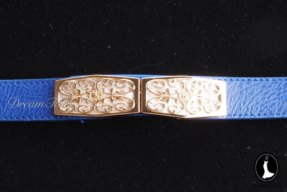 DT020A Floral Craft Buckle Belt- Blue