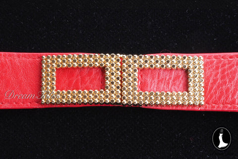 DT021A Rectangle Metal Trim Stretchable Belt- Red