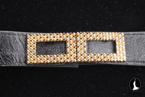 DT021A Rectangle Metal Trim Stretchable Belt- Black