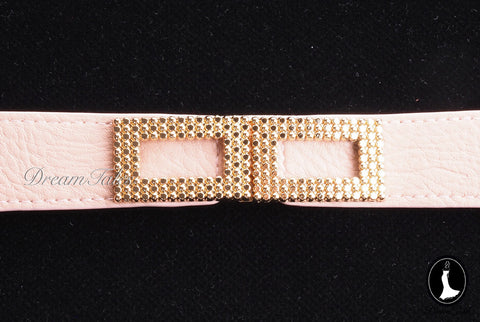 DT021A Rectangle Metal Trim Stretchable Belt- Pink