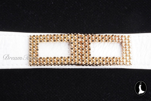 DT021A Rectangle Metal Trim Stretchable Belt- White