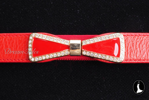 DT022A Ribbon Belt with Crystal Trim- Red