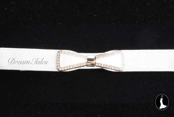 DT022A Ribbon Belt with Crystal Trim- White