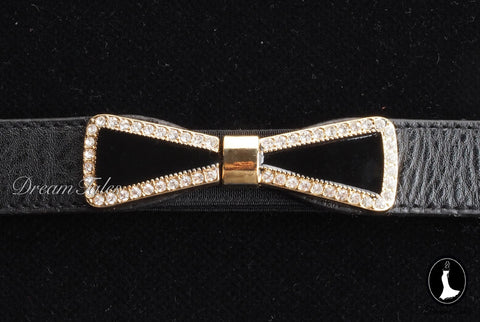 DT022A Ribbon Belt with Crystal Trim- Black