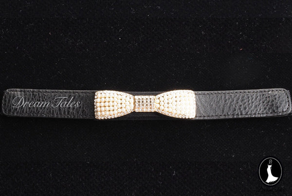 DT023A Ribbon Belt with Pearl Details- Black