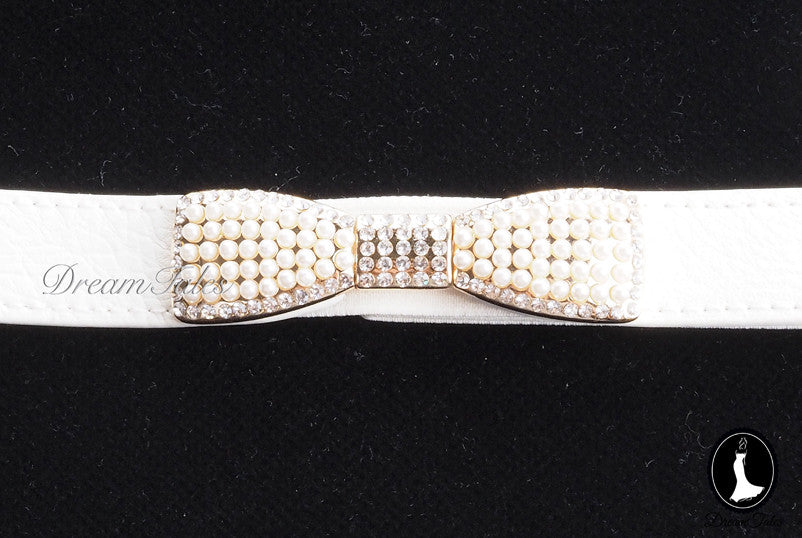 DT023A Ribbon Belt with Pearl Details- White