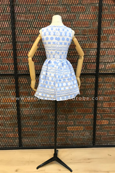 DT0397 Sleeveless Polka Organza Blend Mini Dress - Blue