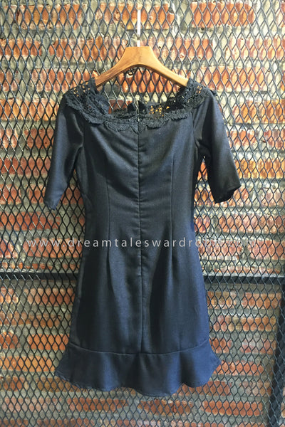 SDT0442 Shoulder Off Hem Dress - Black
