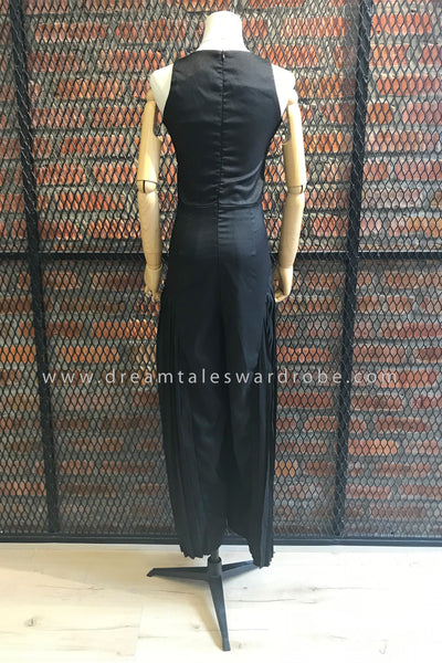 SDT0628 Culottes Jumpsuit with Pleated Details - Black