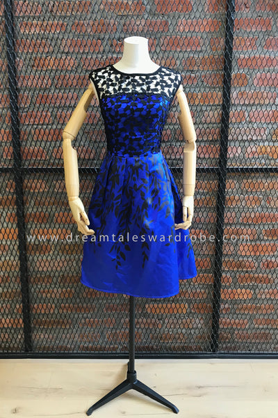 DT0680 3D Overlay Lace Fit & Flare Dress - Blue