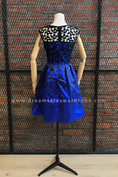 SDT0680 3D Overlay Lace Fit & Flare Dress - Blue