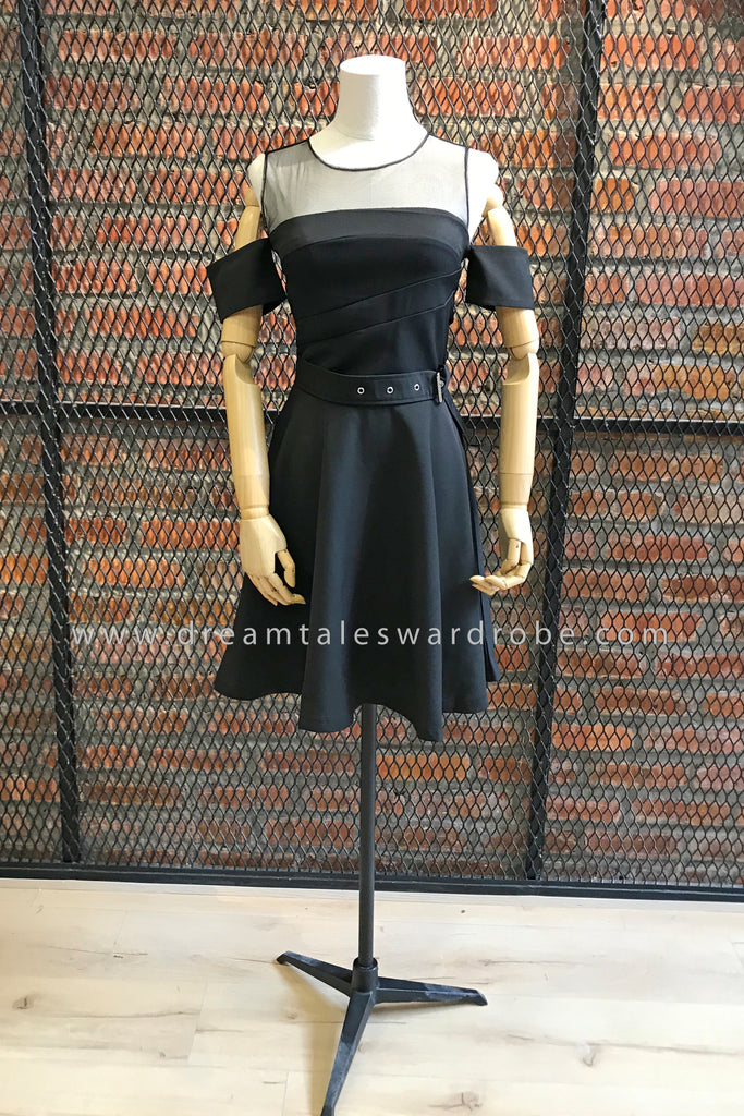 SDT0795 Cold Shoulder Mesh Fit & Flare Dress - Black