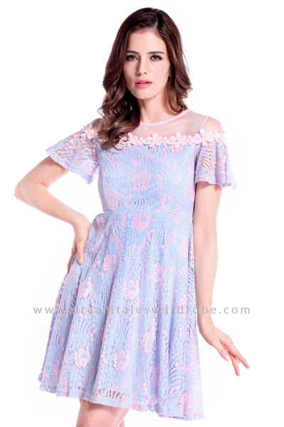 DT0840 Mesh Lace Pearl Details Dress - Powder Blue