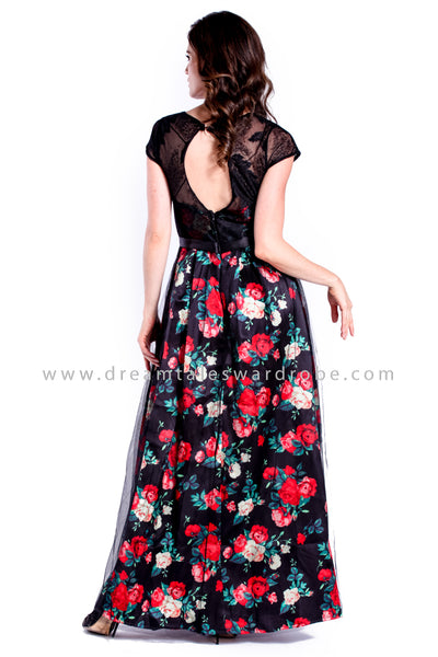 DT0842 Mesh Lace Layering Floral Evening Dress - Black