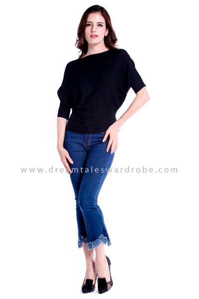 DT0843A Knitted Dolman Sleeves Top - Black