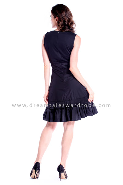 DT0847 Asymmetrical Ruffles Dress - Black