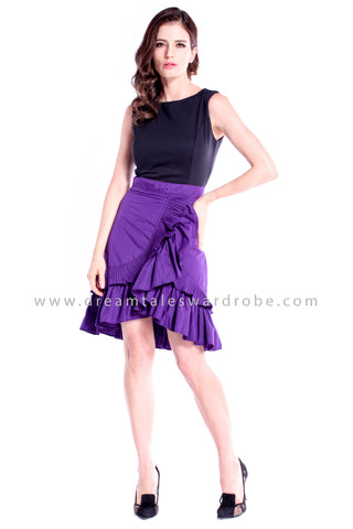DT0847 Asymmetrical Ruffles Dress - Purple
